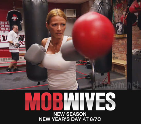 Mob Wives Season 2 graphic with Drita D'Avanzo boxing