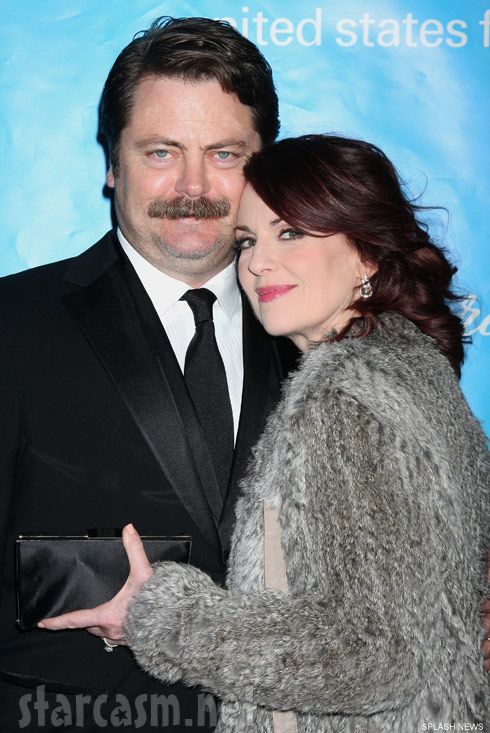 Ron Swanson actor Nick Offerman and wife Megan Mullally who plays Tammy 2