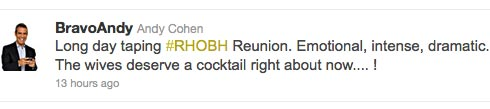 Andy Cohen tweets about Real Housewives of Beverly Hills Season 2 Reunion Special