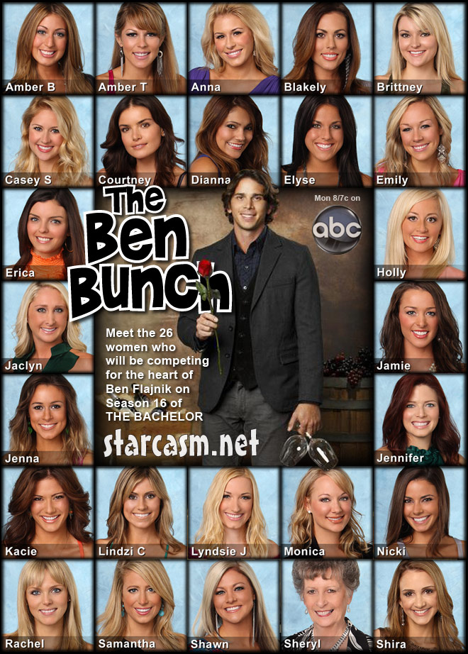 The Ben Bunch photo with Ben Flajnik and all 25 contestants from Season 16 of The Bachelor