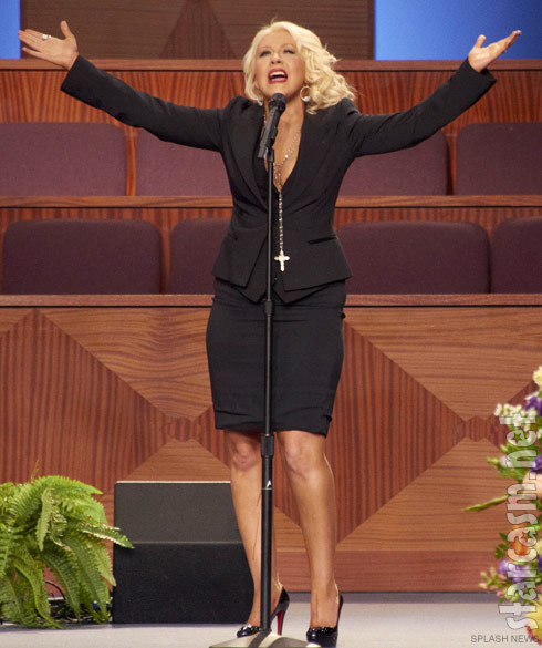 Christina Aguilera at Etta James' funeral service performing At Last
