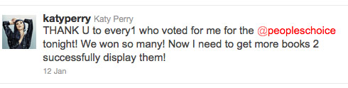 Katy Perry tweet thanking fans for her People's Choice Awards 2012