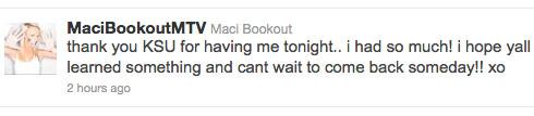 Maci Bookout Kennesaw State University tweet