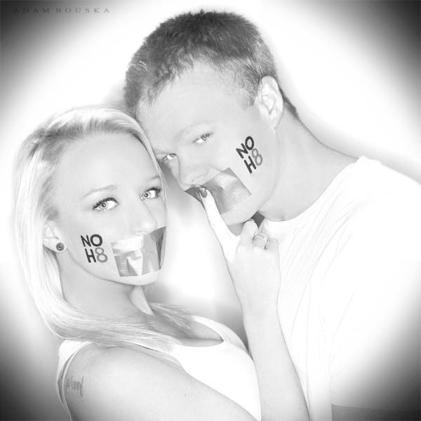 Teen Mom Maci Bookout and boyfriend Kyle King pose for a NOH8 photo