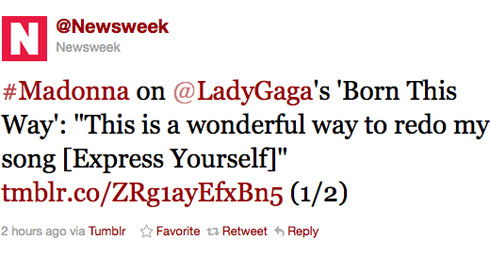 Madonna talks about Lady Gaga's song Born This Way