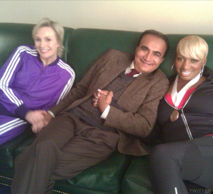 NeNe Leakes with Glee cast mates Jane Lynch and Iqbal Theba