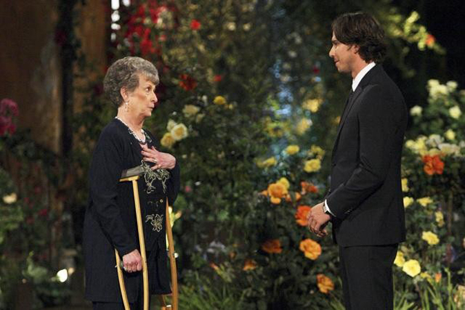 Grandmother Sheryl metting Ben Flajnik from The Bachelor Season 16 premiere