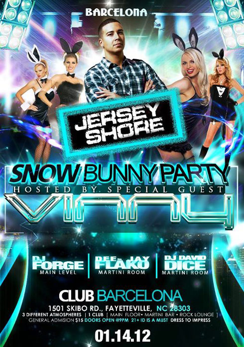 JErsey Shore's Vinny Guadagnino hosts Snow Bunny Party at Club Barcelona in Fayetteville NC