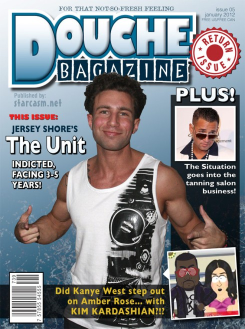 Jersey Shore's Jonny Manfre The Unit on the cover of Douche Bagazine