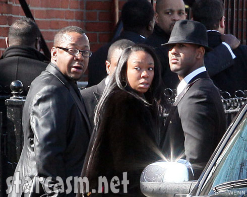 Bobby Brown and daughter La Princia at Whitney Houston memorial service