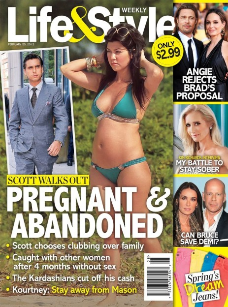 Life and Style cover February 20 2012 with pregnant Kourtney Kardashian