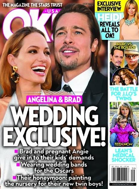 OK magazine cover with Brad Pitt and Angelina Jolie wedding exclusive
