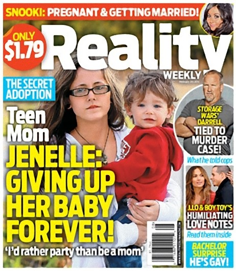 Reality Weekly magazine cover February 20 2012 with Teen Mom Jenelle Evans adoption story