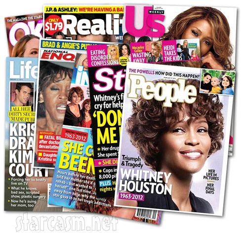 Whitney Houston tabloid covers February 27 2012