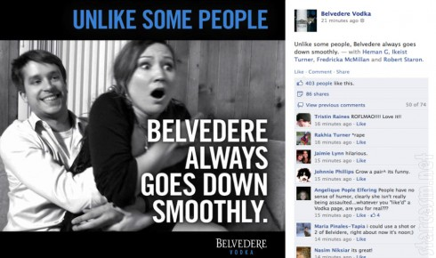 Belvedere Vodka rape ad with Facebook comments