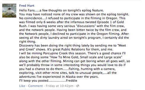 Dakota Fred Hurt Facebook message