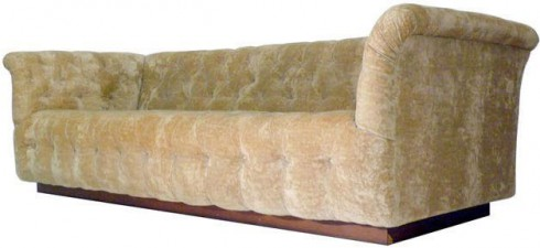 Early Button Tufted Milo Baughman designed sofa manufactured by Thayer Coggin
