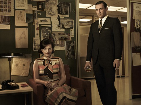 Elisabeth Moss as Peggy Olson and Jon Hamm as Don Draper Mad Men Season 5