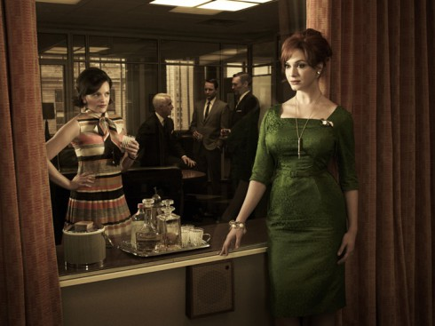 Peggy Olson and Joan Harris on set of Mad Men Season 5