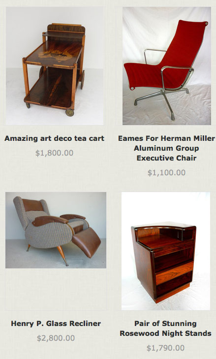 Itms for sale at Moe Prigoff's store River Regency Modern in Dallas Texas