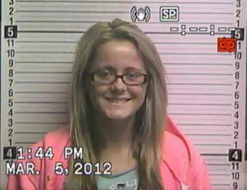 Jenelle Evans mugshot photo for cyberstalking arrest March 5 2012