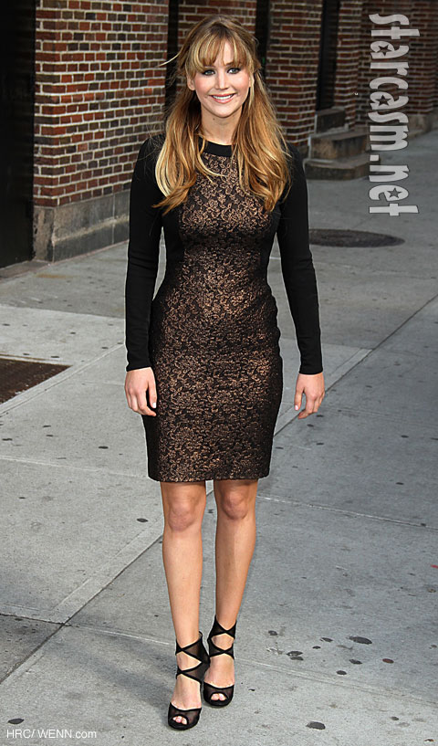 Jennifer Lawrence hunger games Katniss David letterman Prabal Gurung
