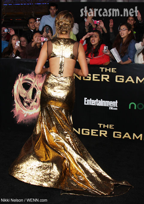hunger games premiere katniss jennifer Lawrence gold gown prabal gurung