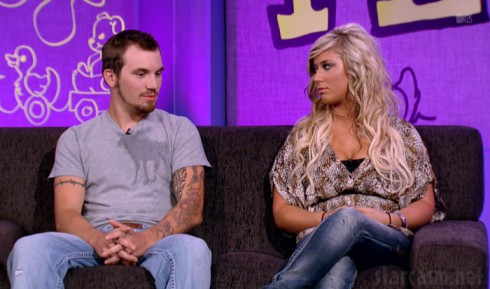 Adam Lind and Chelsea Houska during the Teen Mom 2 Season 2 Reunion Special with Dr. Drew