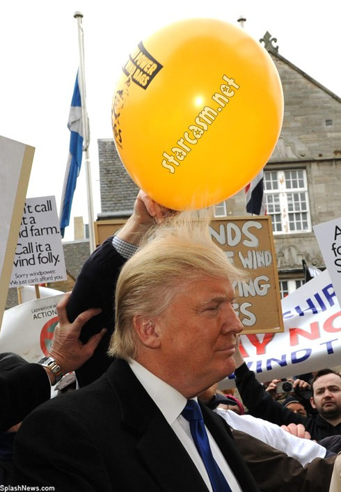 Donald Trump hair balloon static Scotland
