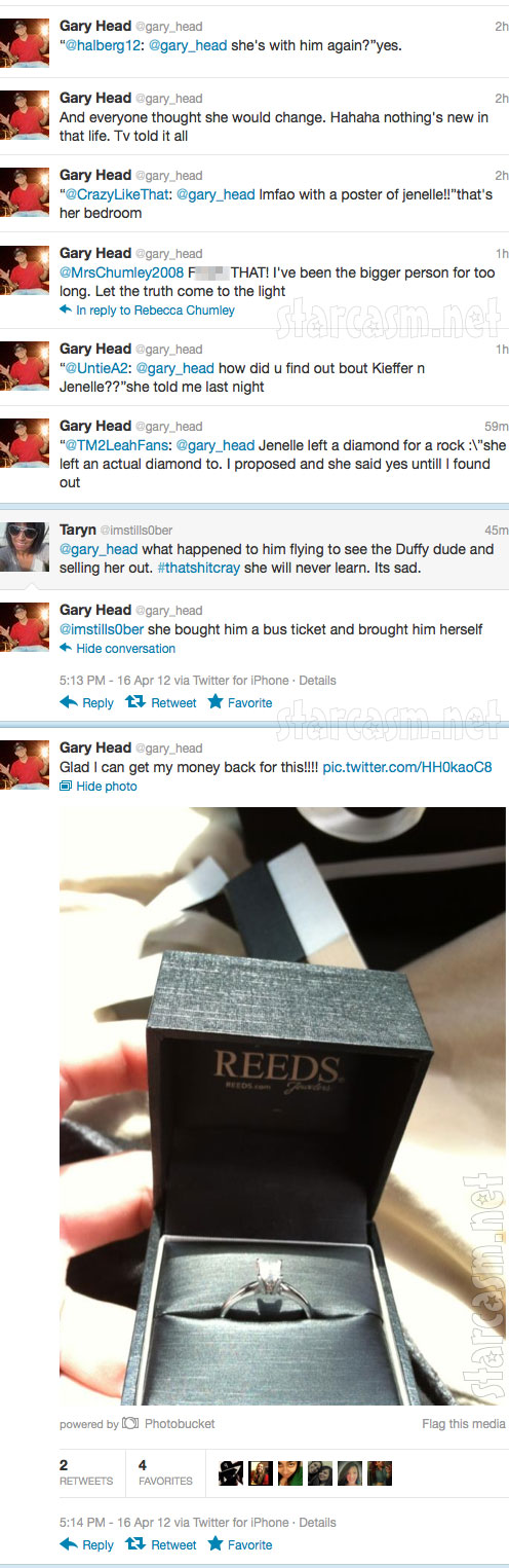 Gary Head tweets a photo of the engagement ring he says he bought for Jenelle Evans