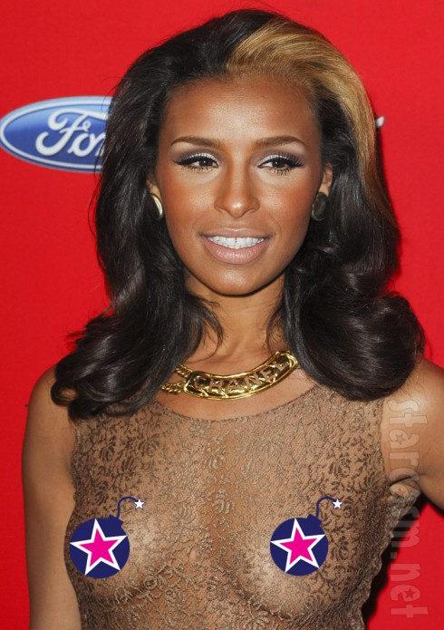 Pussycat Doll Melody Thornton see-through dress