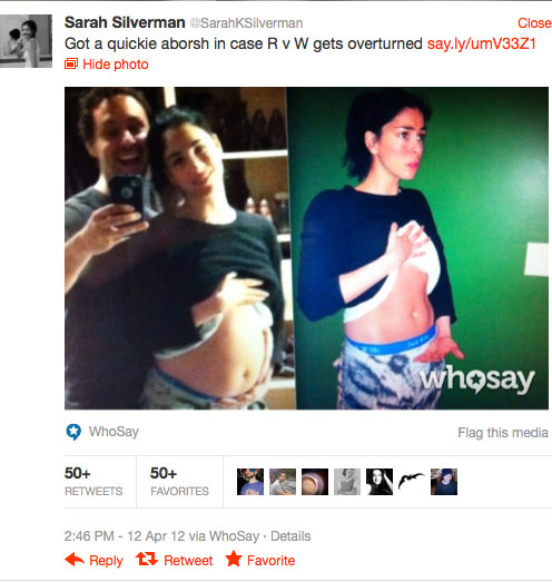 Sarah Silverman quickie aborsh before and after Twitter photos