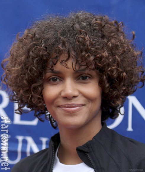 Halle Berry with curly hair extensions