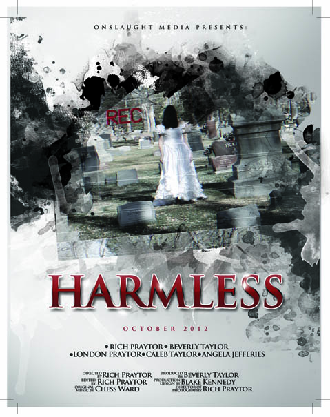 Christian horror movie Harmless movie poster starring a box of porn