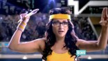 Jenni Pulos tosses a javelin in the 2012 Summer By Bravo commercial