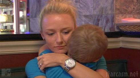 Maci Bookout hugs Bentley in the first episode of Teen Mom Season 4
