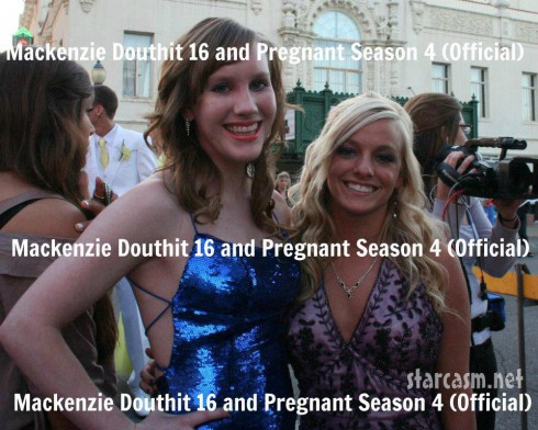 Mackenzie Douthit at her prom with what appears to be an MTV camera woman in the background