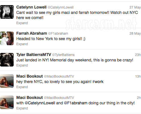 Teen Moms Maci Farrah and Catelynn tweet about Season 4 Reunion in New York City