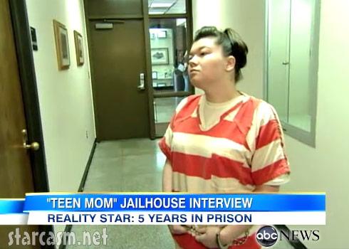 Amber Portwood in prison wearing orange stripes