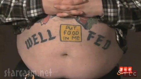 TLC's America's Worst Tattoos well fed belly tattoo with put food here post it note