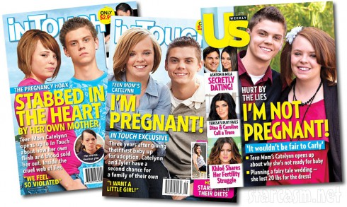 All the tabloid mazine covers claiming Catelynn Lowell is and isn't pregnant