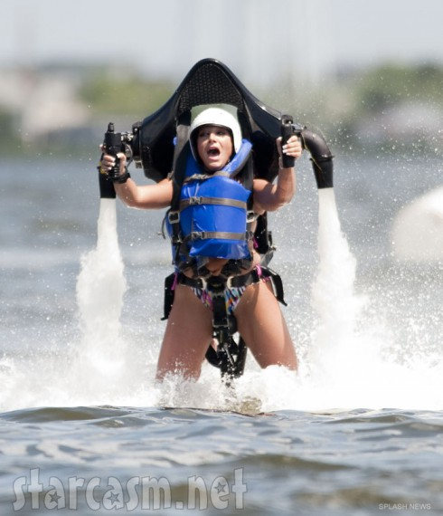 Deena Cortese wears a jet pack while filming Jersey Shore Season 6