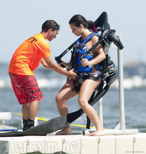 JWoww straps on a JetLev Jet pack while filming Jersey Shore Season 6