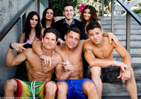 Jersey Shore Shark Attack cast with Vinny Guadagnino as himself, Jeremy Luc as TC 'The Complication', Melissa Molinaro as Nooki, Joey Russo as Donnie, Daniel Booko as Paulie Balzac, Alex Mauriello as J-Moni, and Audi Resendez as BJ