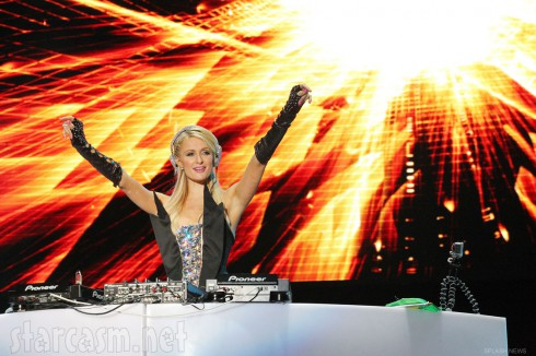 Paris Hilton performing as a DJ at the 2012 Pop Music Festival in Sao Paulo Brazil