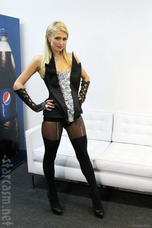 Paris Hilton in her sexy dominatrix DJ outfit at the Pop Music Festival in Sao Paulo Brazil