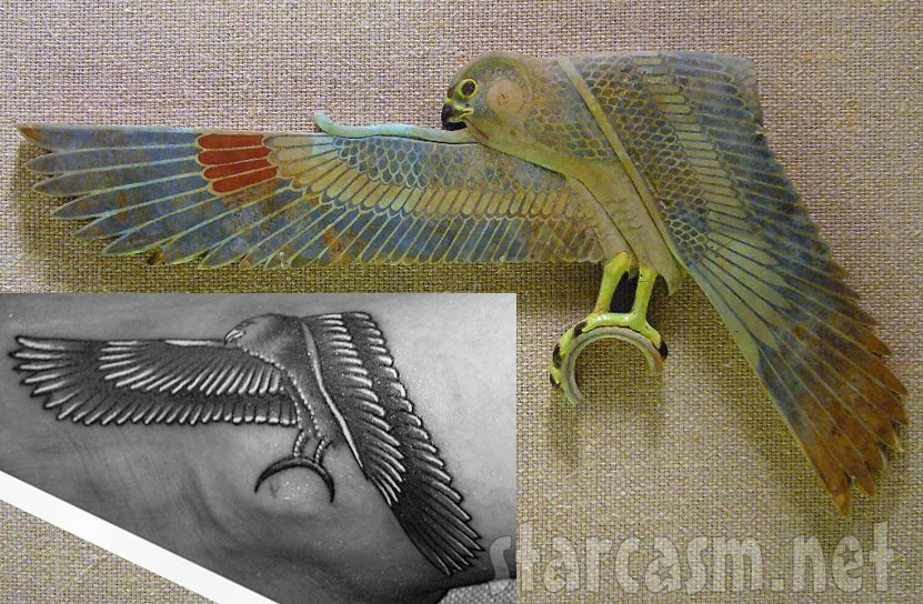photos rihannas egyptian falcon tattoo inspired by met