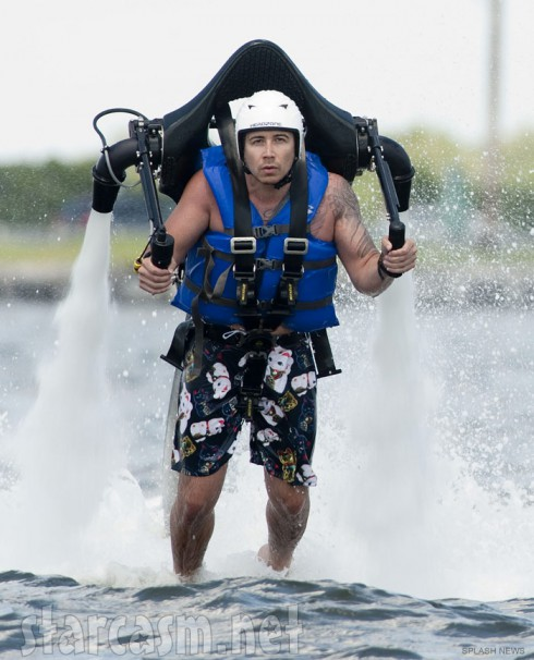Vinny Guadagnino wearing a jet pack while filming Jersey Shore Season 6