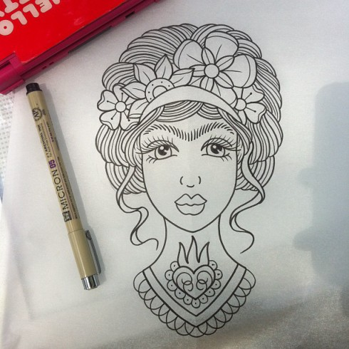 Alex Strangler Frida Kahlo tattoo drawing for Danielle Colby Cushman