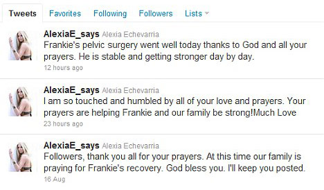 Alexia Echevarria tweets about her son Frankie's car accident in August 2011